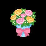 母の日や父の日に贈る花束(ブーケ/カーネーション/バラ)のイラスト素材