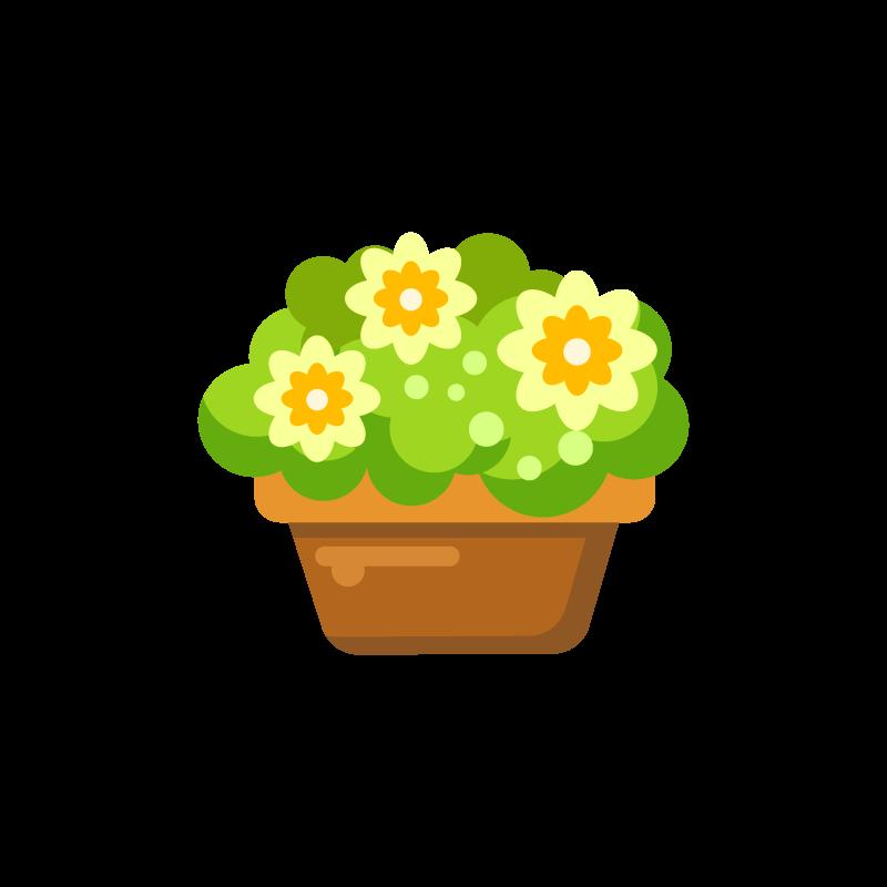 花と植木鉢プランターのガーデニング用イラスト素材 商用可能な