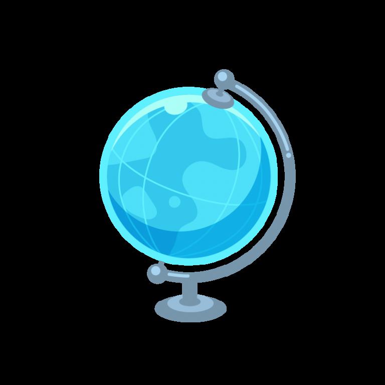 世界地図がわかる地球儀のイラスト素材