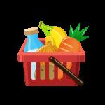 食べ物が入ったスーパーの買い物かご(ショッピングカート)のイラスト素材
