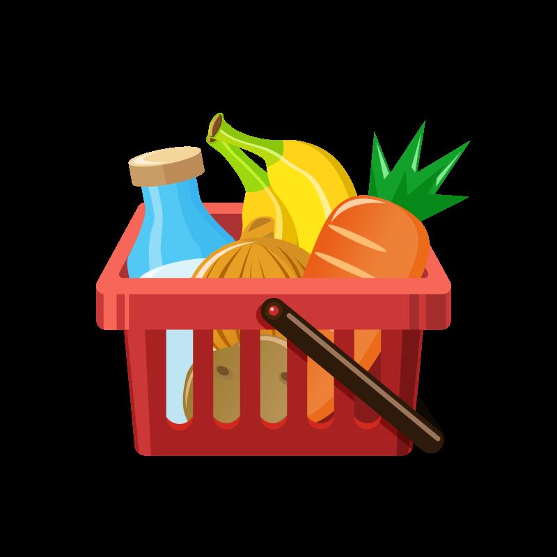 食材が入った買い物かごショッピングカートのイラスト素材 商用