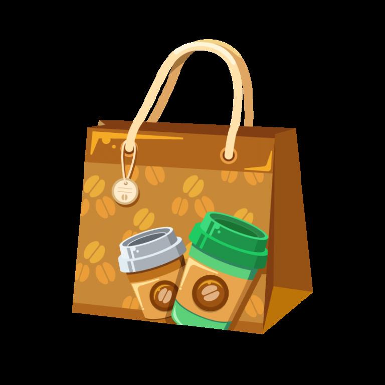 コーヒーショップ(カフェ)で買い物した時にもらう紙袋のイラスト素材