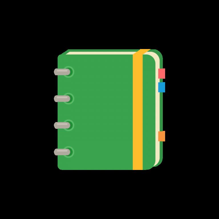 スケジュール管理に便利なノート型システム手帳(ダイアリー/日記帳/スケッチブック)のイラスト素材