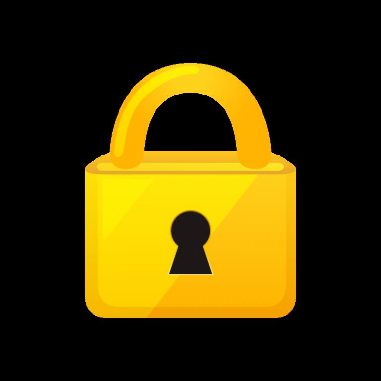 ロックされた南京錠と鍵(カギ)のイラスト素材