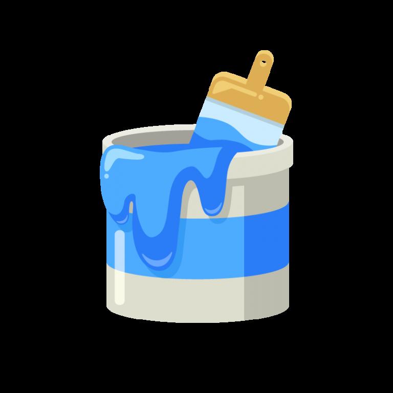 DIY用のペンキ缶(青色)と刷毛(ハケ)のイラスト素材