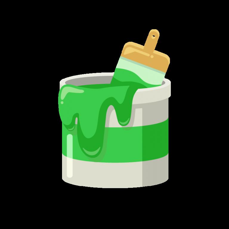 DIY用のペンキ缶(緑色)と刷毛(ハケ)のイラスト素材