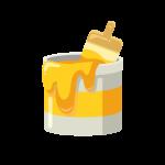 DIY用のペンキ缶(黄色)と刷毛(ハケ)のイラスト素材