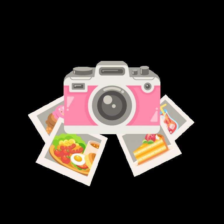 デジタルカメラ(デジカメ)と写真(フォト)のイラスト素材