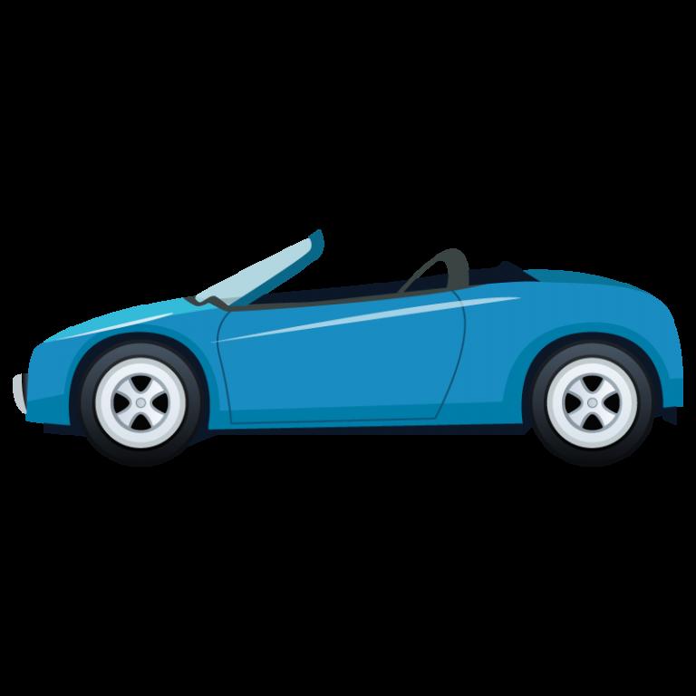 青い車(オープンカー)のイラスト素材