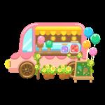 アイスクリーム移動販売車(ケータリングカー/キッチンカー/フードトラック)のイラスト素材