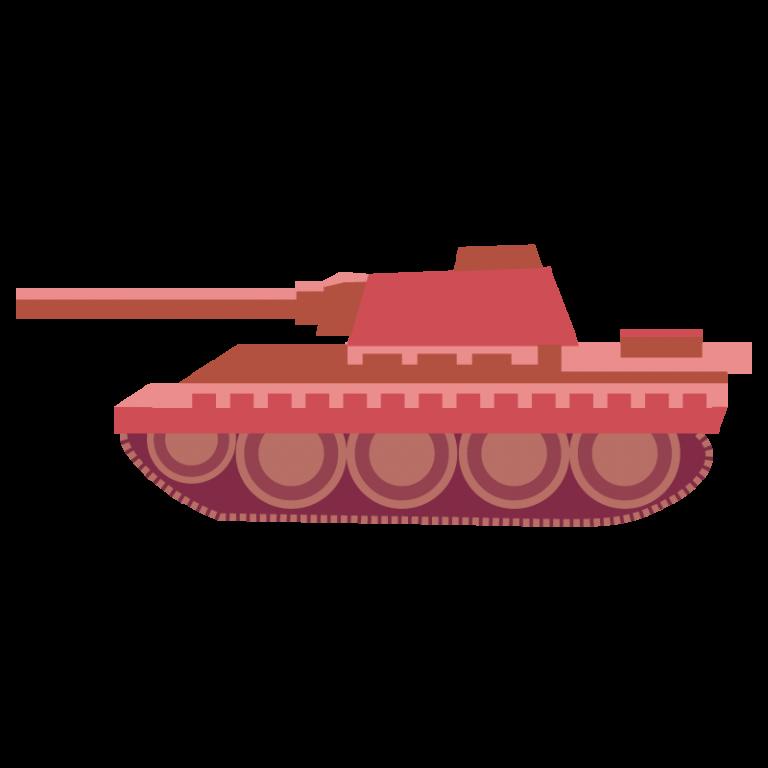 戦車(赤色)のイラスト素材